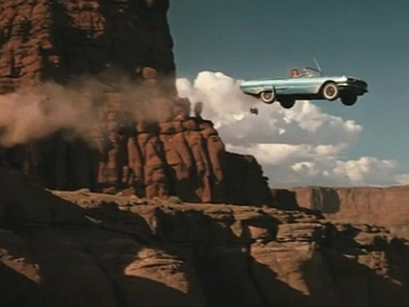 Thelma and Louise's car flying over the canyon