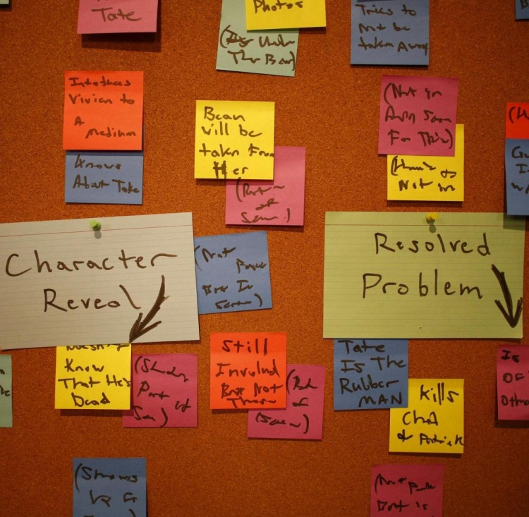 Writer's room pinboard